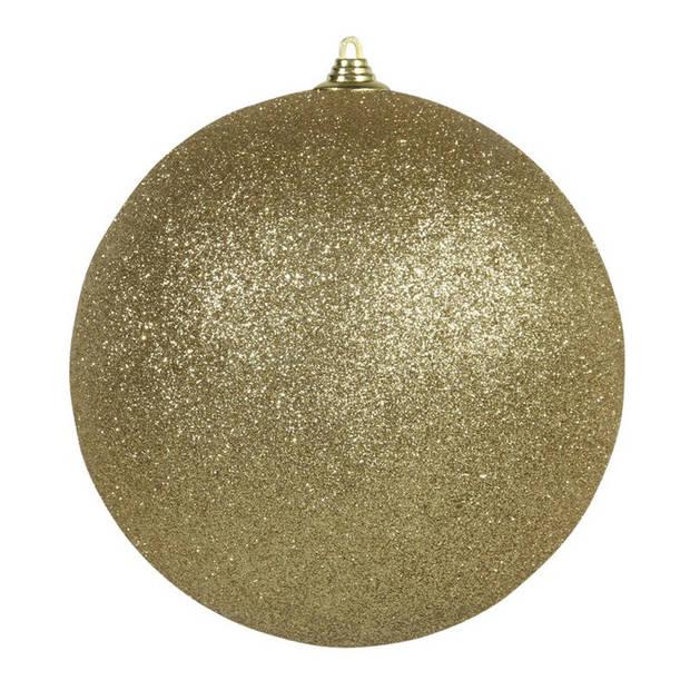 2x Gouden grote glitter kerstballen 18 cm - hangdecoratie / boomversiering glitter kerstballen