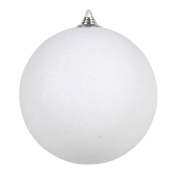 2x Witte grote glitter kerstballen 18 cm - hangdecoratie / boomversiering glitter kerstballen