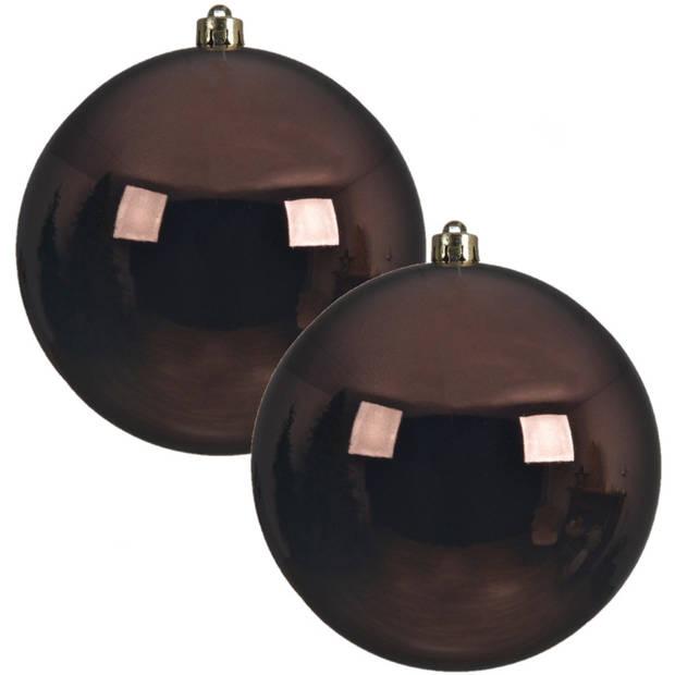 2x Grote donkerbruine kunststof kerstballen van 20 cm - glans - donkerbruine kerstballen - Kerstversiering