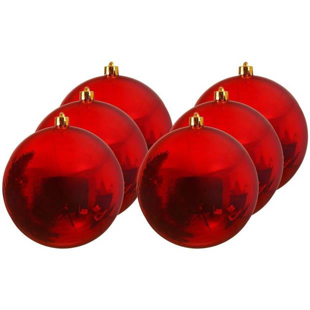 6x Grote kerst rode kunststof kerstballen van 20 cm - glans - rode kerstboom versiering