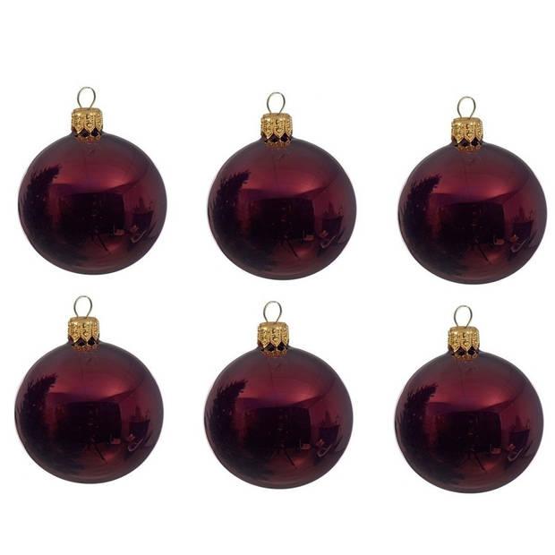12x Donkerrode glazen kerstballen 8 cm - Glans/glanzende - Kerstboomversiering donkerrood