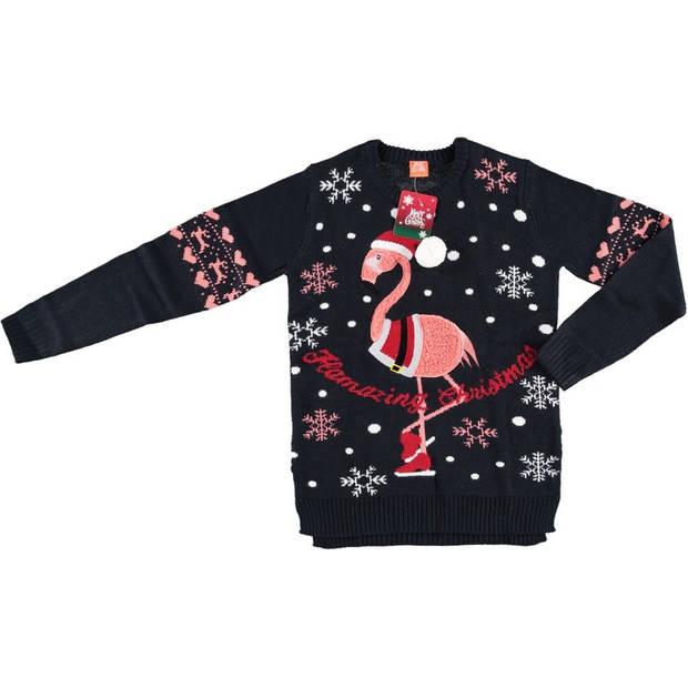 Donkerblauwe dames kersttrui met flamingo - Foute kersttruien M