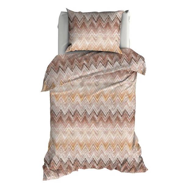 Romanette Kiruna flanel dekbedovertrek - 1-persoons (140x200/220 cm + 1 sloop) - Flanel - Bruin/Terra