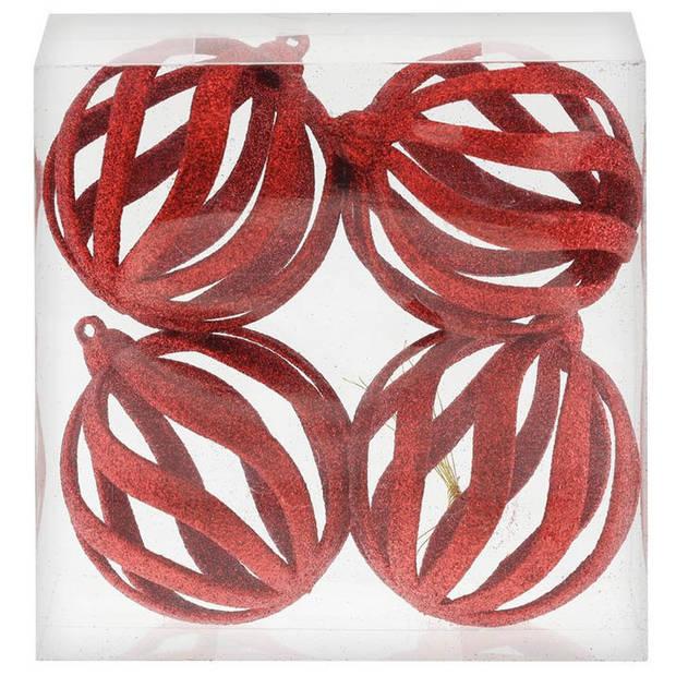 4x Rode open draad kerstballen met glitters kunststof 8 cm - Rode kerstboomversiering kerstballen