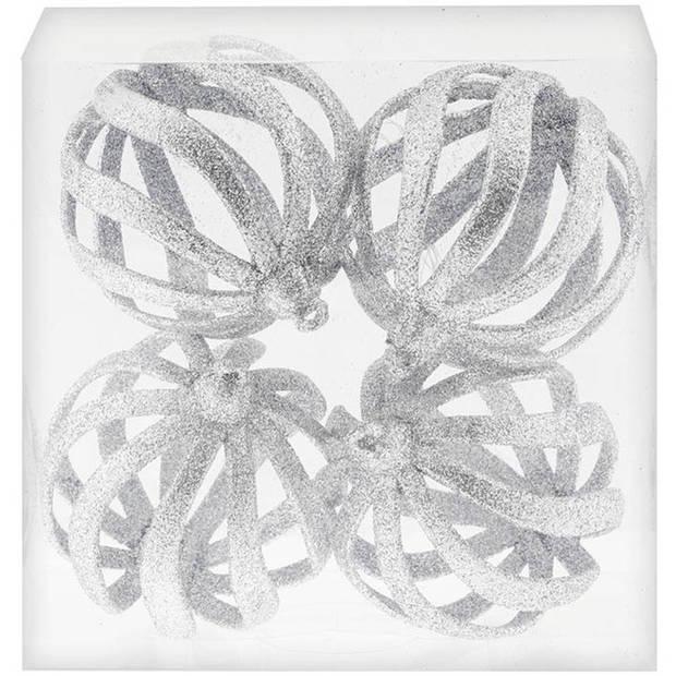 4x Zilveren open draad kerstballen met glitters kunststof 8 cm - Zilveren kerstboomversiering kerstballen