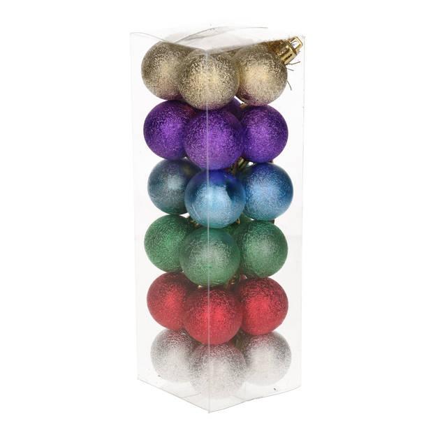 24x Kleine pastel gekleurde kerstballen van kunststof 3 cm - Kerstboomversiering - Kerstversiering/kerstdecoratie