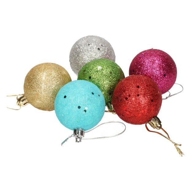 6x Gekleurde glitter kerstballen van piepschuim 5 cm - Kerstboomversiering - Kerstversiering/kerstdecoratie