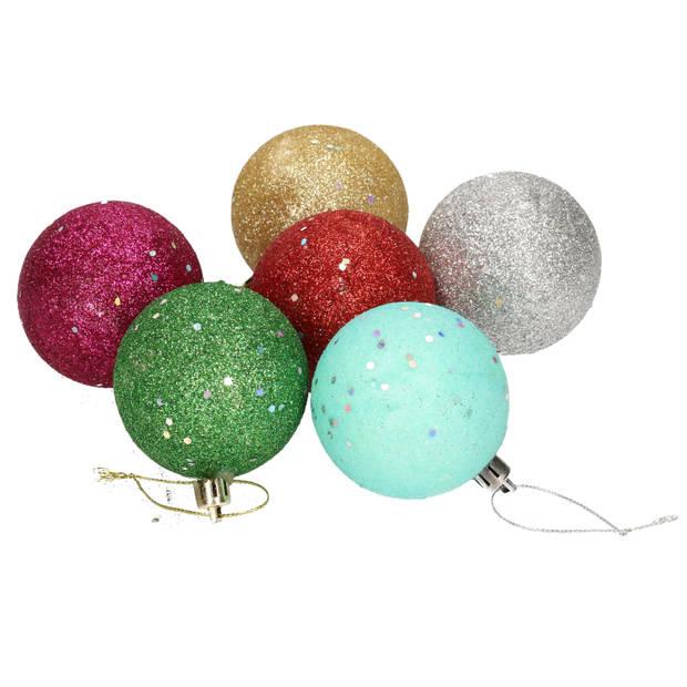 6x Gekleurde glitter kerstballen van piepschuim 6 cm - Kerstboomversiering - Kerstversiering/kerstdecoratie