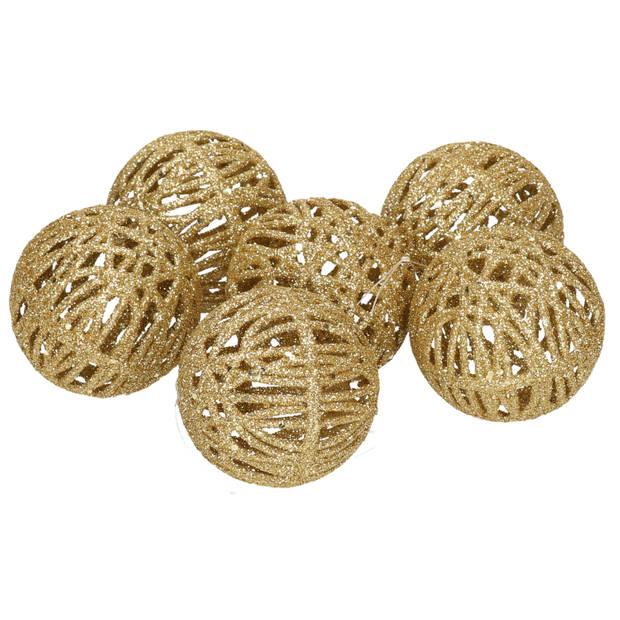 6x Rotan kerstballen goud met glitters 5 cm - kerstboomversiering - Kerstversiering/kerstdecoratie goud