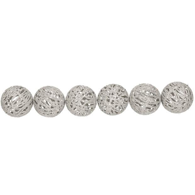 6x Rotan kerstballen zilver met glitters 5 cm - kerstboomversiering - Kerstversiering/kerstdecoratie zilver