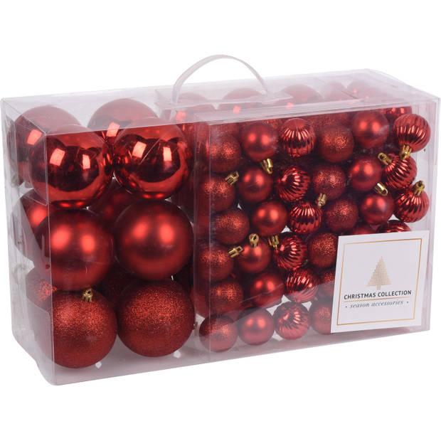 94-Delige kerstboomversiering kunststof kerstballen set rood - Kerstballenpakket/kerstballenset rood - kerstversiering
