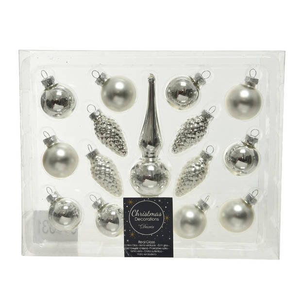 Zilveren glazen kerstballen en piek set voor mini kerstboom 15-dlg - Kerstversiering/kerstboomversiering zilver