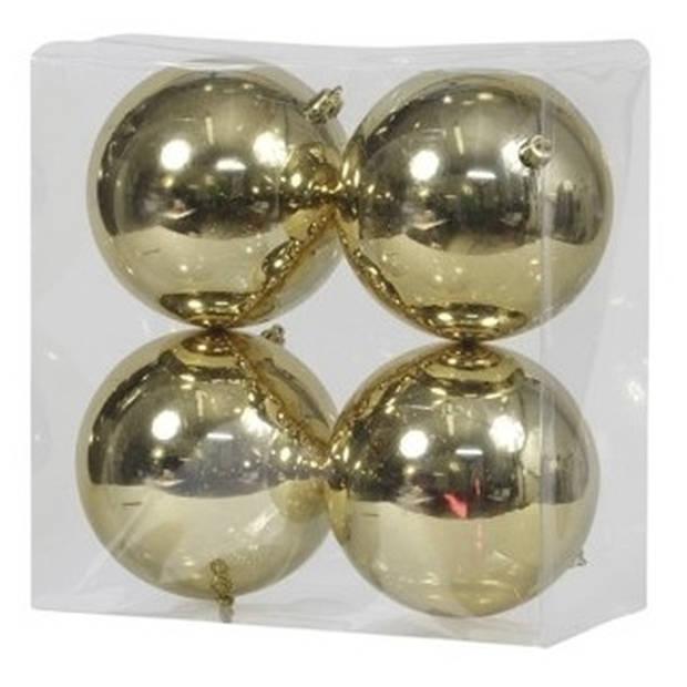 4x Gouden kunststof kerstballen 12 cm - Glans - Onbreekbare plastic kerstballen - Kerstboomversiering Goud