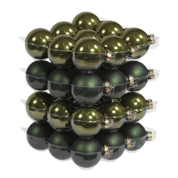 36x Donker olijf groene glazen kerstballen 6 cm - mat/glans - Kerstboomversiering donker olijf mat en glanzend