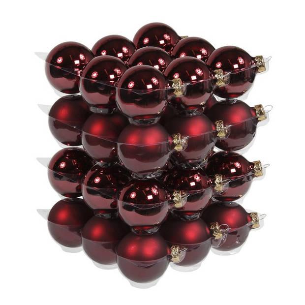 36x Bordeaux rode glazen kerstballen 6 cm - mat/glans - Kerstboomversiering bordeaux rood mat en glanzend