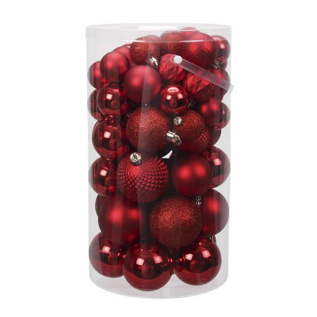 60x Rode kunststof kerstballen 4 tot 7 cm mix - Glans/mat/bewerkt - Onbreekbare plastic kerstballen rood
