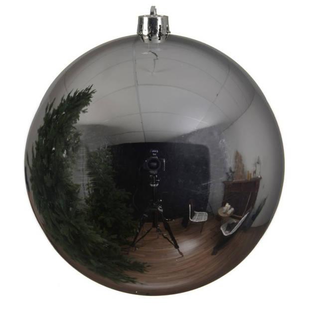 1x Grote zilveren kunststof kerstballen van 14 cm - glans - zilveren kerstboom versiering