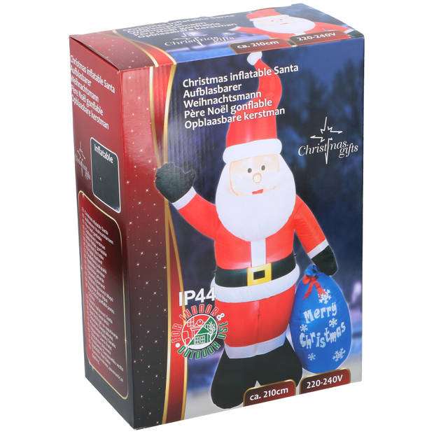 Christmas Gifts Kerstman - Opblaasbaar - Verlicht - XL: 210 cm