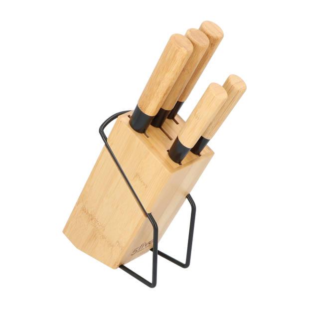 4goodz Messenblok Bamboe met 5 messen met handvat in Japanse stijl