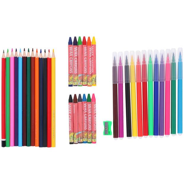 Topwrite Kids Tekenset - 38 stuks - kleurpotloden, viltstiften, waskrijtjes, puntenslijper