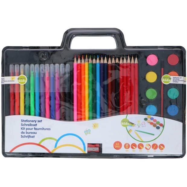Topwrite Kids Tekenset - 43-delig - potloden, stiften, verf, kwast en puntenslijper