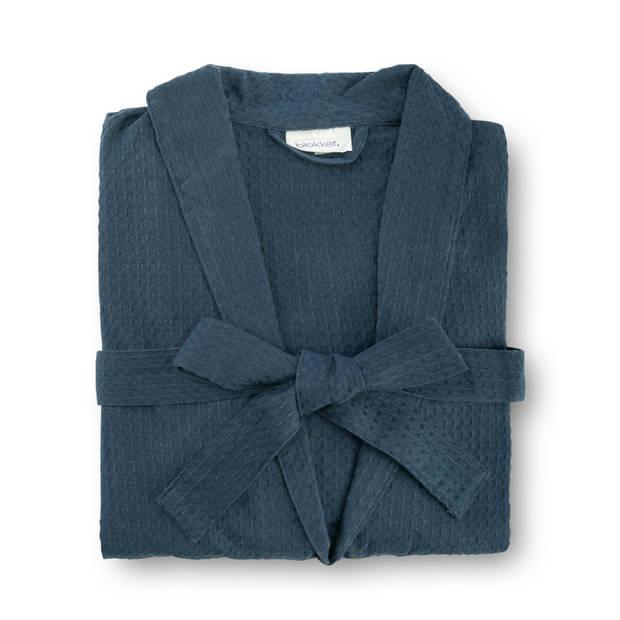Badjas katoen - blauw - S/M
