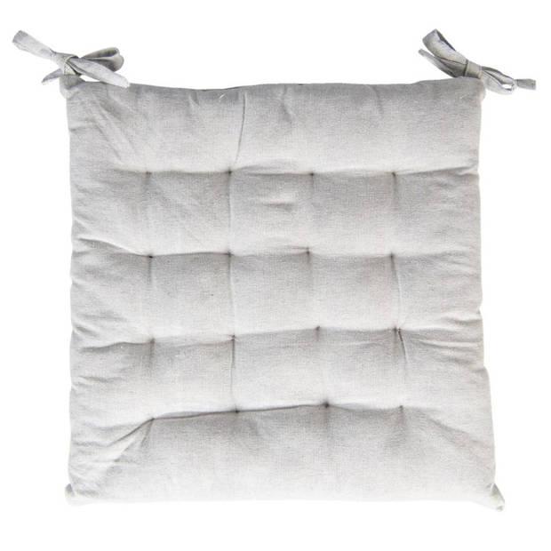 Kussen met foam - 40*40*4 cm - grijs - 100% katoen - vierkant - Clayre & Eef - KT029.037LG