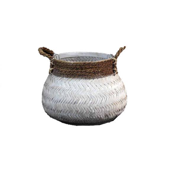 Basket Bamboo White - (D)46 x (H)35 cm