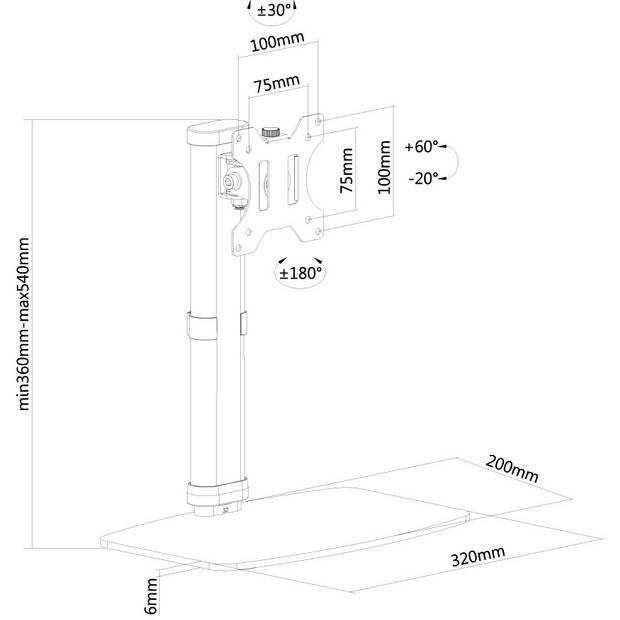 FPMA-D890BLACK flatscreen bureausteun