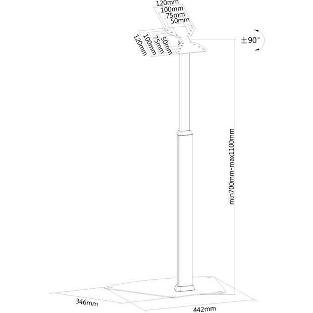 FPMA-D1550SILVER flatscreen vloerstandaard