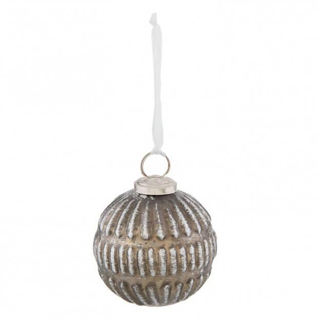 Clayre & Eef kerstbal - Ø 7*8 cm - zilverkleurig - glas - rond - Clayre & Eef - 6GL2313