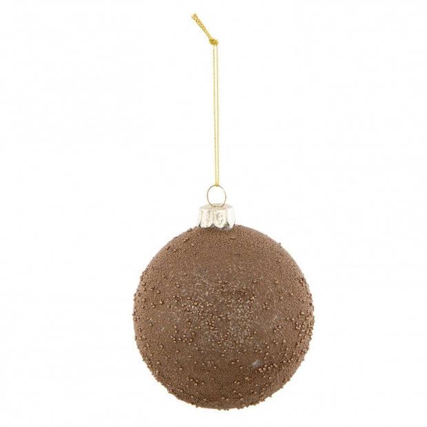 Clayre & Eef kerstbal - Ø 8*9 cm - bruin - glas - rond - Clayre & Eef - 6GL2308B
