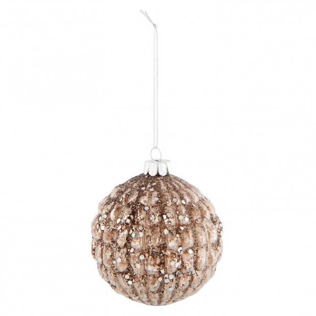 Clayre & Eef kerstbal - Ø 8*9 cm - bruin - glas - rond - 6GL2304B