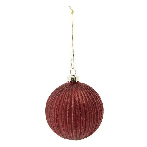 Clayre & Eef kerstbal (set van 4) - Ø 8 cm - rood - glas - rond - 6GL2277R
