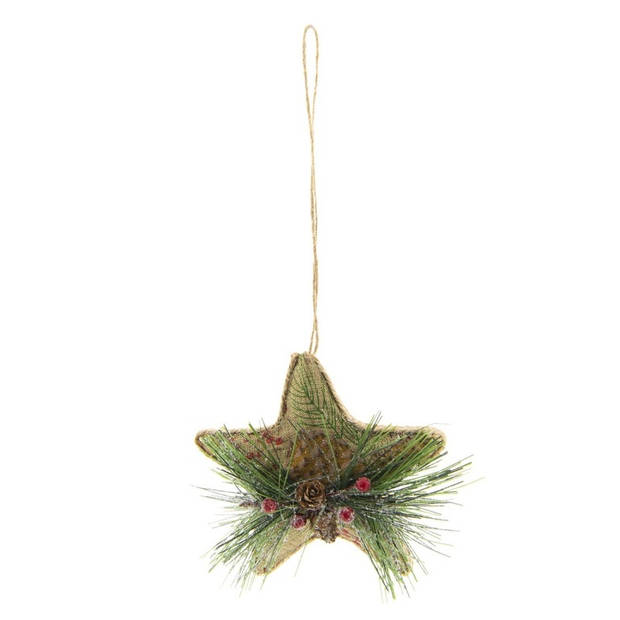 Kerstbal - 11*6*11 cm - meerkleurig - foam - ster - Clayre & Eef - 64037