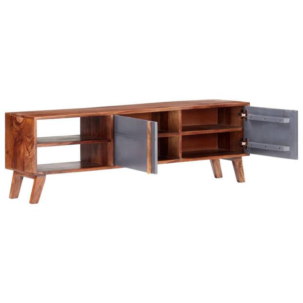 vidaXL Tv-meubel 140x30x45 cm massief sheeshamhout grijs