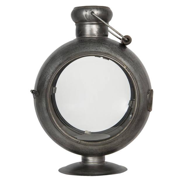 Clayre & Eef lantaarn 29x22x39 cm - ijzer en glas - grijs - 6Y4041