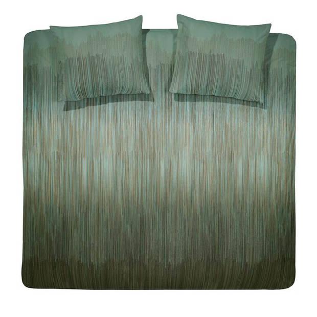 Damai Cassio dekbedovertrek - 2-persoons (200x200/220 cm + 2 slopen) - Katoen satijn - Copper Green