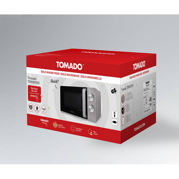 Tomado TMS2001S - solo magnetron - 20 Liter - zilver