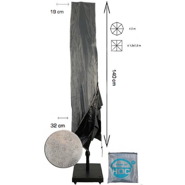 Diamond topkwaliteit parasolhoes staande parasol - 140x19x32 cm- met Rits, Stok en Trekkoord incl. Stopper- Zilvergrijze