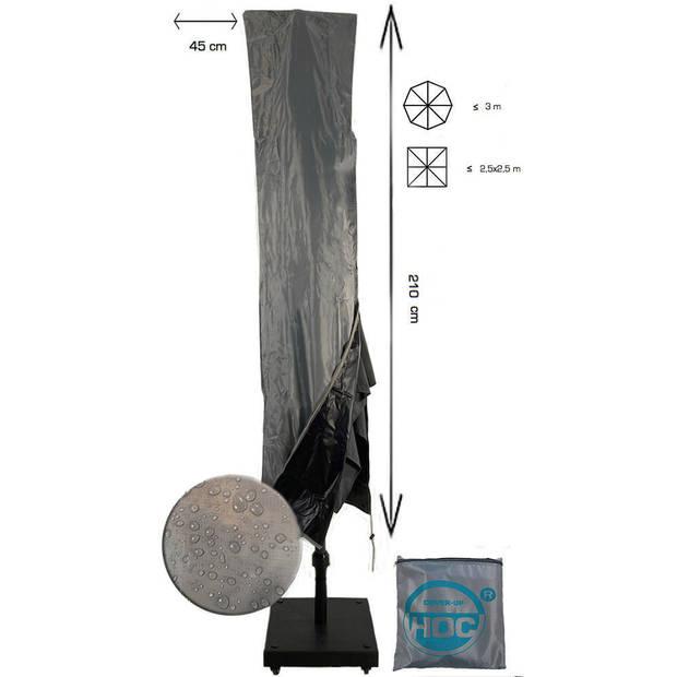 Diamond topkwaliteit parasolhoes voor zweefparasol - 210x45 cm- met Rits, Stok en Trekkoord incl. Stopper- Zilvergrijze