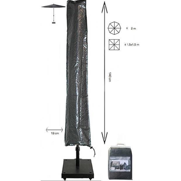Basic Parasolhoes staande parasol zonder rits 140x19x32 cm - Grijze Parasolhoes