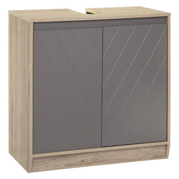 4Goodz Wastafelonderkast Elda met 1 plank - Bruin Eiken/Grijs