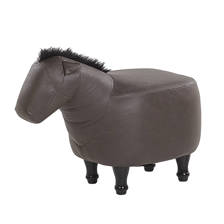 Korting Beliani Horse Hocker bruin kunstleer