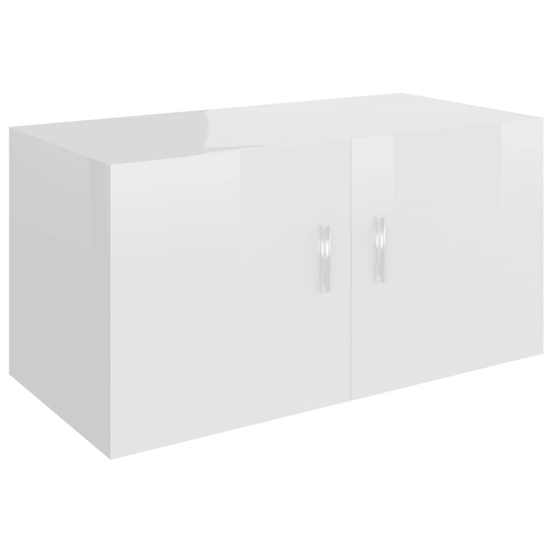 vidaXL Hangkast 80x39x40 cm spaanplaat hoogglans wit