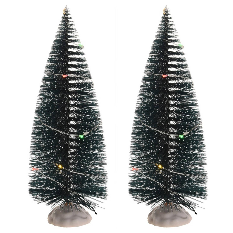 Kerstdorp Onderdelen 2x Kerstbomen Met Gekleurde Led Verlichting 22 Cm Kerstdorp-kerstdorpen