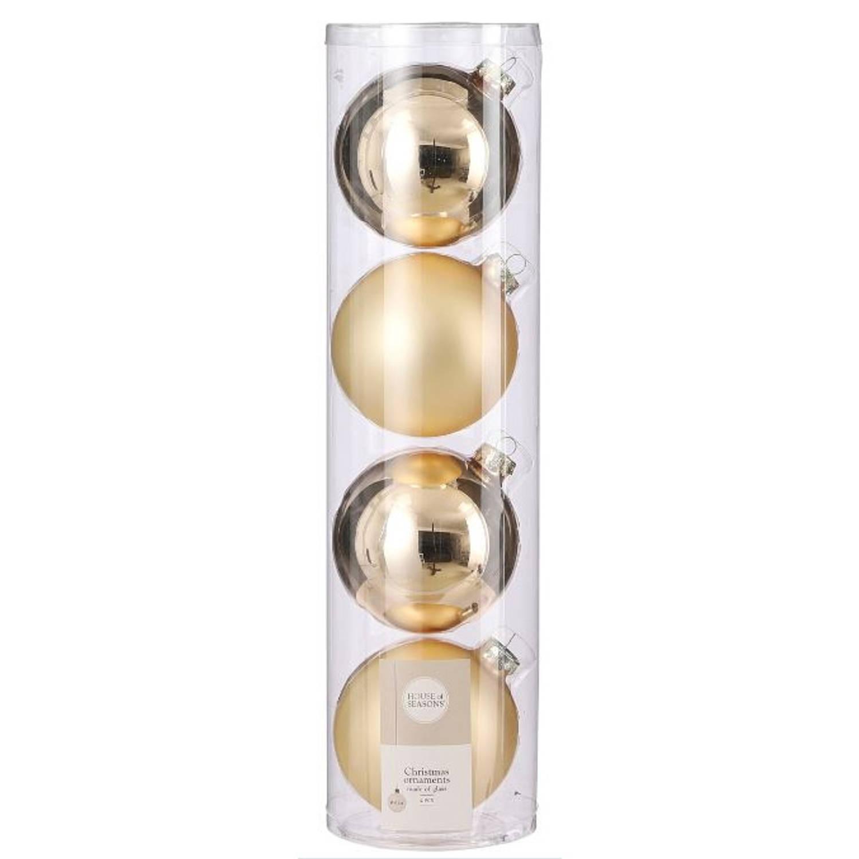 Korting House Of Seasons Kerstballen 10 Cm Glas Champagne 4 Stuks