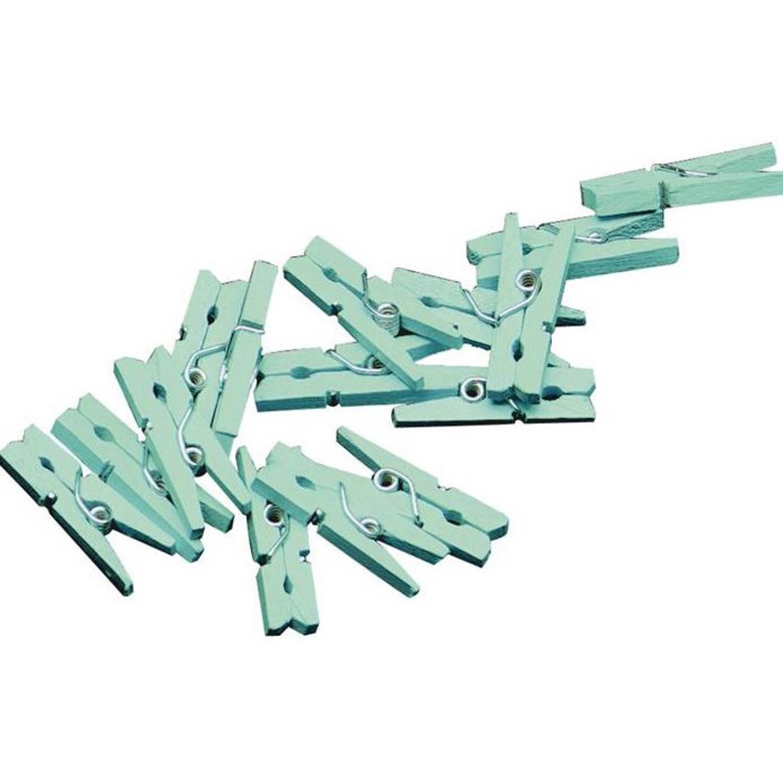 Korting Haza Original Miniwasknijperset 2,5 Cm Hout Mintgroen 20 Stuks
