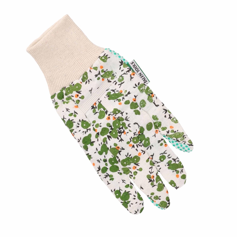 Korting Tuinhandschoenen werkhandschoenen Met Groene Bloemetjes Tuinartikelen Werkhandschoenen Klusartikelen