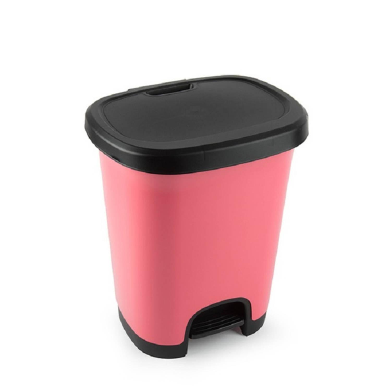 Kunststof Afvalemmers/vuilnisemmers/pedaalemmers In Het Roze/zwart Van 27 Liter Met Deksel En Pedaal